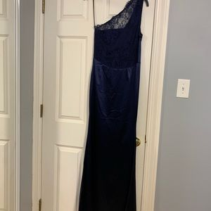 Navy blue long formal dress.
